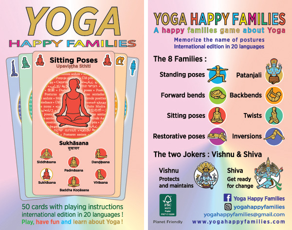 "Front and back sides of ""yoga happy families"" box."